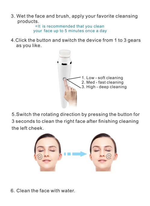 2 In 1 Facial Beauty Device Nylon Hair USB Electric Rotating Cleansing